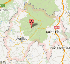 Carte GoogleMaps du département du Cantal